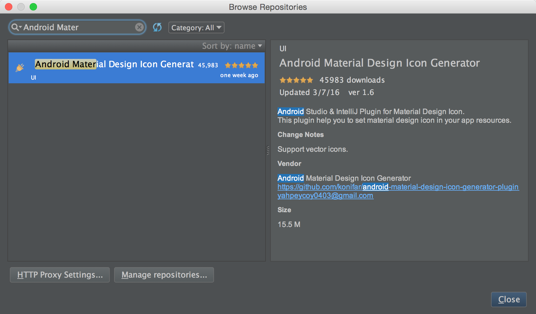 Andorid Material Design Icon Plugin