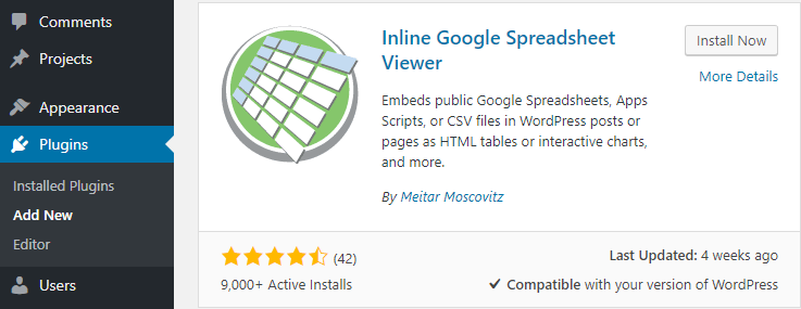 Inline Google Spreadsheet Viewer