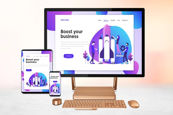 Responsive Screens Mockup by QalebStudio